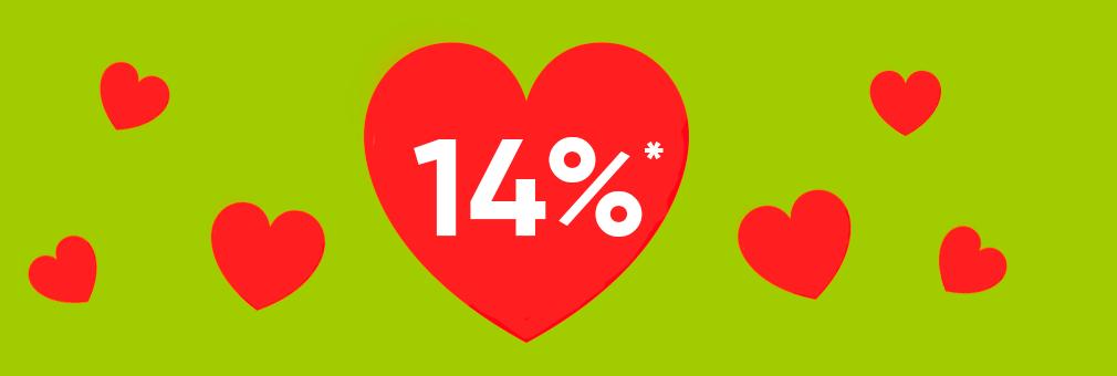 14% zwrotu gotówki w Walentynki Charków