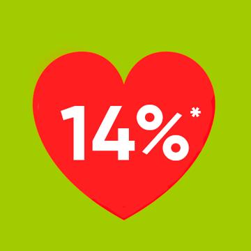 14% кэшбек в День всех влюбленных Киев